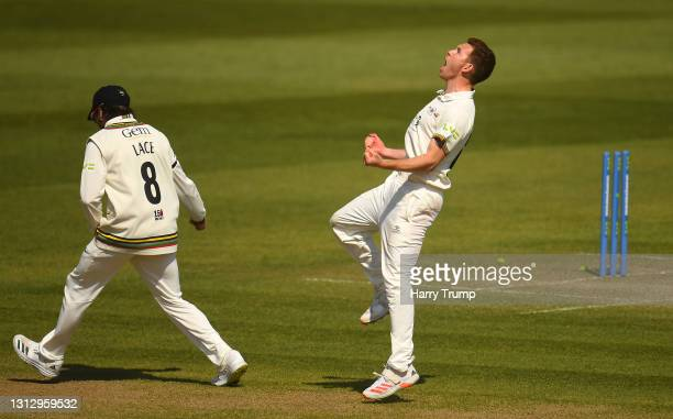 Ryan Higgins of Gloucestershire celebrates after taking the wicket of Craig Overton of Somerset during Day Three of the LV= Insurance County...