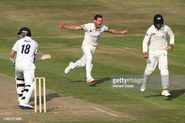 Ryan Higgins of Gloucestershire celebrates taking the wicket of Craig Miles of Warwickshire during day four of the Bob Willis Trophy Central Group...