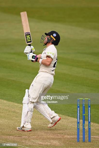 Ryan Higgins of Gloucestershire hits out during Day Two of the LV= Insurance County Championship match between Middlesex and Gloucestershire during...