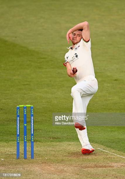 Ryan Higgins of Gloucestershire of bowls during Day Two of the LV= Insurance County Championship match between Middlesex and Gloucestershire during...