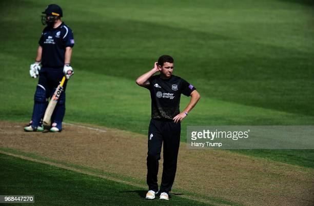 Ryan Higgins of Gloucestershire reacts during the Royal London OneDay Cup match between Gloucestershire and Middlesex at the Brightside Ground on...