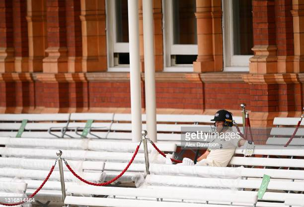 Ryan Higgins of Gloucestershire waits to go out to bat after tea on Day Two of the LV= Insurance County Championship match between Middlesex and...