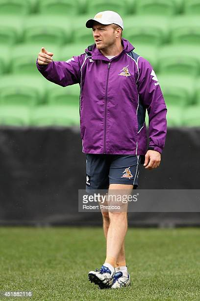 Ryan Hinchcliffe gives instructions during a Melbourne Storm NRL training session at AAMI Park on July 9 2014 in Melbourne Australia
