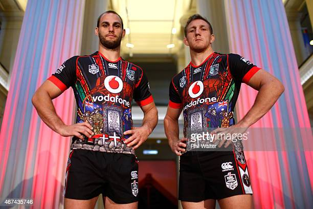 Ryan Hoffman and Simon Mannering of the Warriors pose in the new strip during the launch of the New Zealand Warriors NRL ANZAC Day Commemorative...