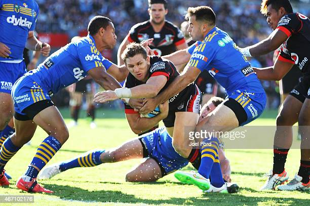 Ryan Hoffman of the New Zealand Warriors goes in to score a try during the round three NRL match between the New Zealand Warriors and the Parramatta...