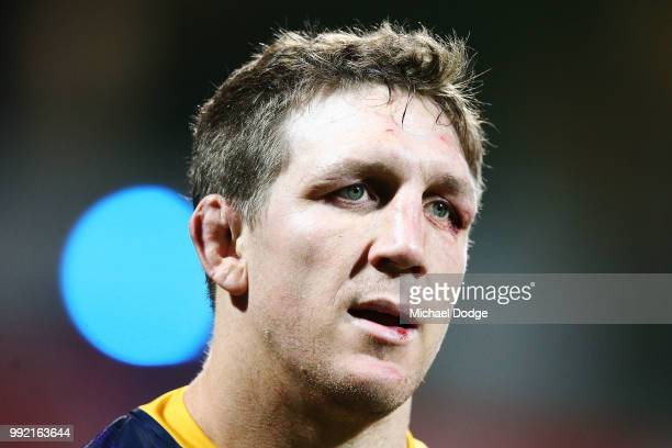Ryan Hoffman of the Storm looks upfield during the round 17 NRL match between the Melbourne Storm and the St George Illawarra Dragons at AAMI Park on...