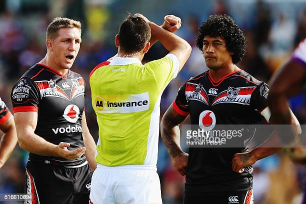 Ryan Hoffman of the Warriors complains to the referee as James Gavet of the Warriors is put on report for a tackle on Cameron Munster of the...