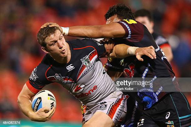 Ryan Hoffman of the warriors is tackled during the round 23 NRL match between the Penrith Panthers and the New Zealand Warriors at Pepper Stadium on...