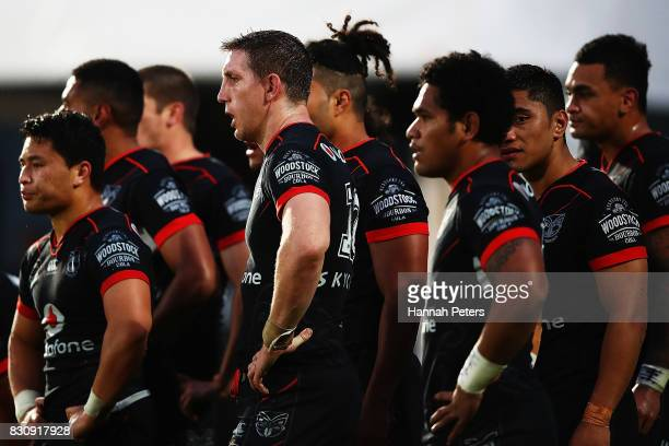 Ryan Hoffman of the Warriors looks on with the team during the round 23 NRL match between the New Zealand Warriors and the Canberra Raiders at Mt...