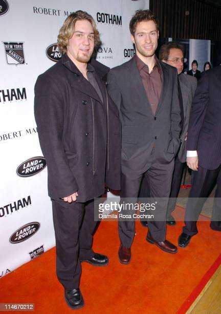 Ryan Hollweg and Dominic Moore during New York Rangers Host Gotham Magazines Issue Release Party at The Hiro Ballroom in New York City New York...
