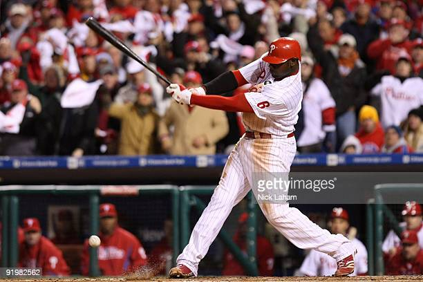 Ryan Howard hits into a fielder's choice against the Los Angeles Dodgers in Game Three of the NLCS during the 2009 MLB Playoffs at Citizens Bank Park...