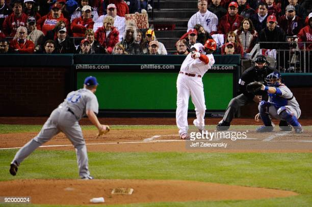 Ryan Howard of of the Philadelphia Phillies hits a 2run home run in the bottom of the first inning against Randy Wolf of the Los Angeles Dodgers in...