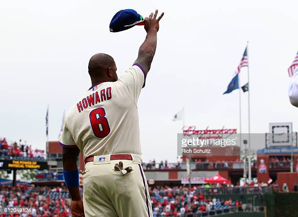 Ryan Howard of the Philadelphia Phillies acknowledges the fans during a ceremony in his honor before a game a game against the New York Mets at...