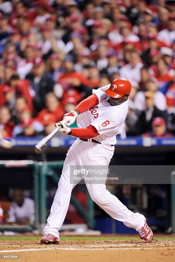 Ryan Howard #6 of the Philadelphia Phillies at bat against the Tampa Bay Rays during game four of the 2008 World Series at Citizens Bank Park on October 26, 2008 in Philadelphia, Pennsylvania.The Phillies defeated the Rays 10 to 2.