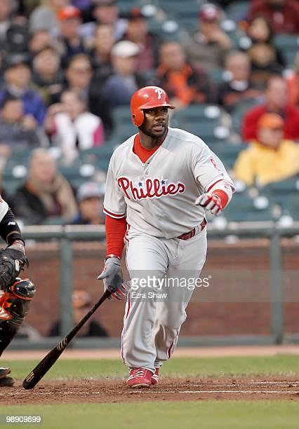 Ryan Howard of the Philadelphia Phillies bats against the San Francisco Giants at ATT Park on April 27 2010 in San Francisco California