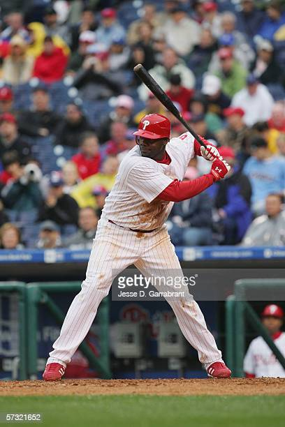 Ryan Howard of the Philadelphia Phillies bats against the St Louis Cardinals during the Opening Day game on April 3 2006 at Citizens Bank Park in...