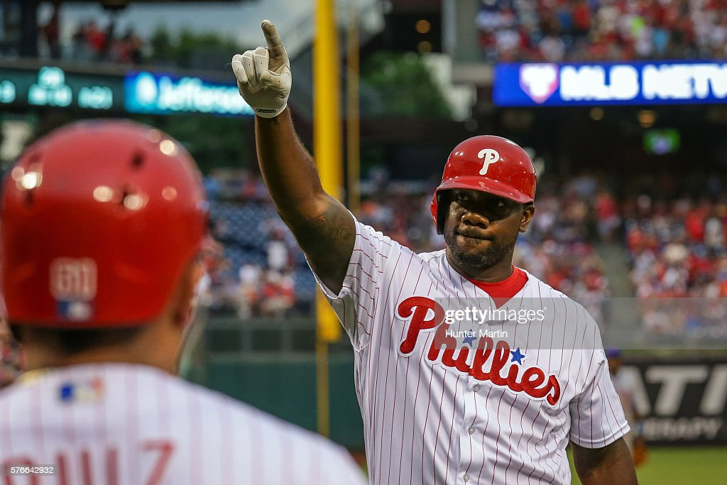 Ryan Howard #6 of the Philadelphia Phillies celebrates after hitting a solo home run in the second inning during a game against the New York Mets at Citizens Bank Park on July 16, 2016 in Philadelphia, Pennsylvania.