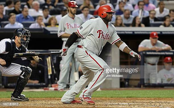 Ryan Howard of the Philadelphia Phillies follows through on a fourth inning RBI single against the New York Yankees on June 17, 2010 at Yankee...