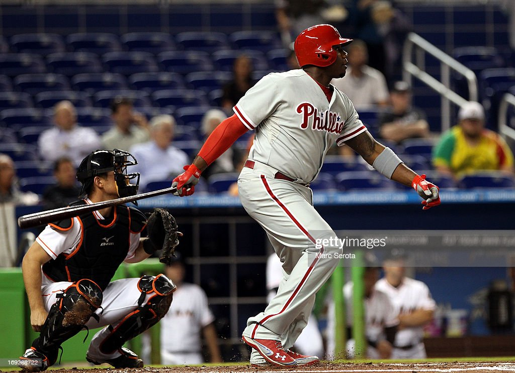 Ryan Howard #6 of the Philadelphia Phillies gets a base hit in the second inning against the Miami Marlins at Marlins Park on May 22, 2013 in Miami, Florida.