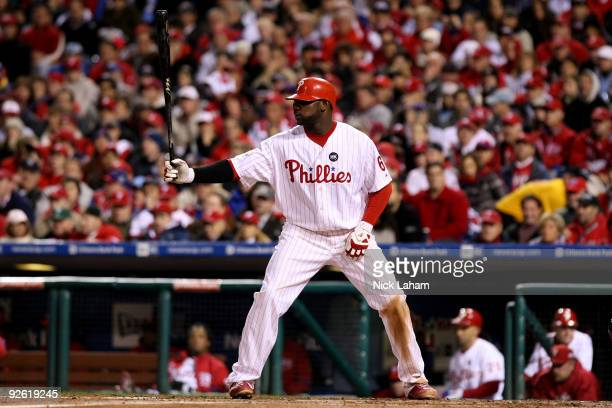 Ryan Howard of the Philadelphia Phillies gets set to bat against the New York Yankees in Game Five of the 2009 MLB World Series at Citizens Bank Park...