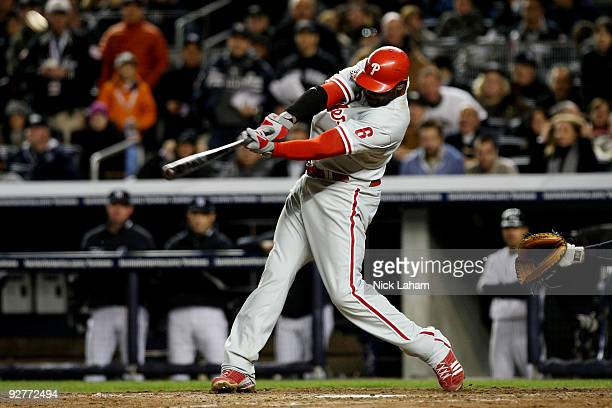 Ryan Howard of the Philadelphia Phillies hits a 2run home run in the top of the sixth inning against the New York Yankees in Game Six of the 2009 MLB...