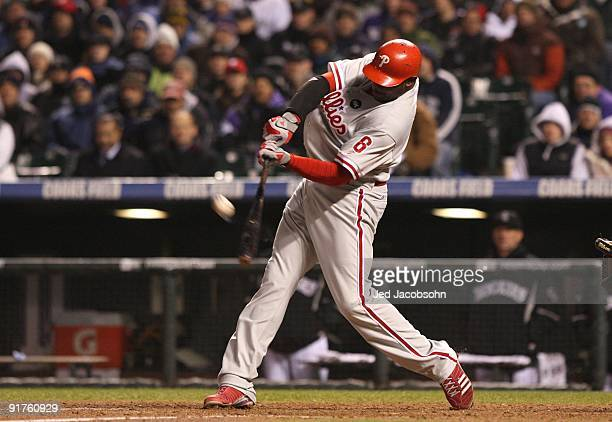 Ryan Howard of the Philadelphia Phillies hits a go ahead RBI sacrifice fly against the Colorado Rockies in the top of the ninth inning to give the...