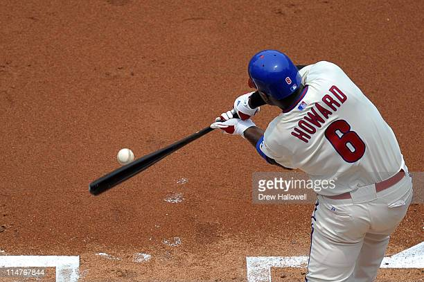 Ryan Howard of the Philadelphia Phillies hits a one run double during the game against the Cincinnati Reds at Citizens Bank Park on May 26, 2011 in...