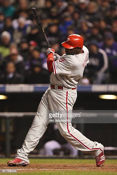 Ryan Howard of the Philadelphia Phillies hits a rbi single against the Colorado Rockies in the fourth inning in Game Three of the NLDS during the...