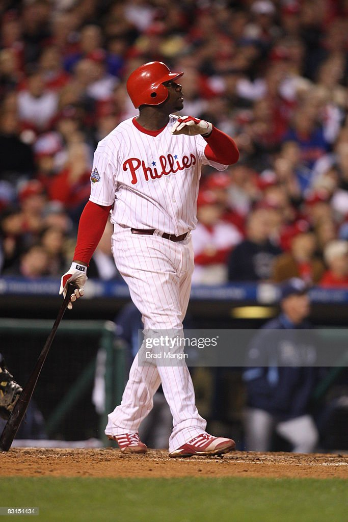 Ryan Howard #6 of the Philadelphia Phillies hits a three-run home run in the bottom of the fourth inning during game four of the World Series between the Tampa Bay Rays and the Philadelphia Phillies at Citizens Bank Park on Sunday, October 26, 2008. The Phillies defeated the Rays 10-2.