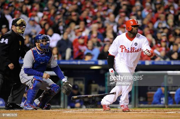 Ryan Howard of the Philadelphia Phillies hits a triple in the first inning against the Los Angeles Dodgers Game Three of the NLCS during the 2009 MLB...