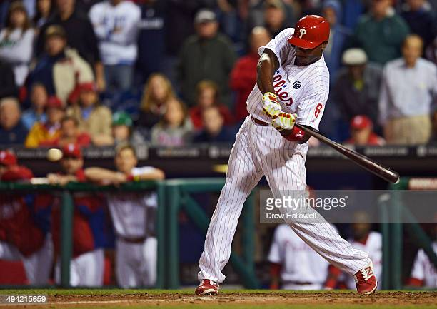 Ryan Howard of the Philadelphia Phillies hits a walkoff threerun home run in the ninth inning against the Colorado Rockies at Citizens Bank Park on...