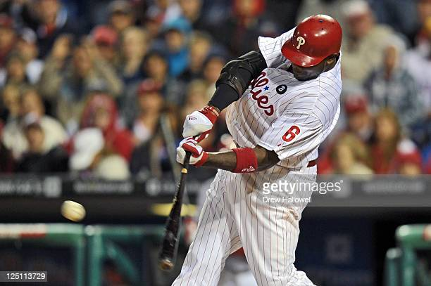 Ryan Howard of the Philadelphia Phillies hits the game winning double in the 10th inning to beat the Florida Marlins 21 at Citizens Bank Park on...
