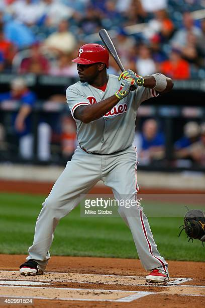 Ryan Howard of the Philadelphia Phillies in action against the New York Mets on July 28 2014 at Citi Field in the Flushing neighborhood of the Queens...