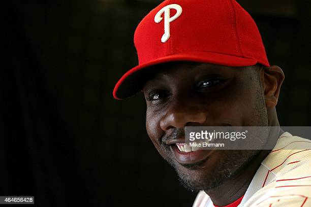 Ryan Howard of the Philadelphia Phillies poses for a portrait during photo day at Brighthouse Stadium on February 27 2015 in Clearwater Florida