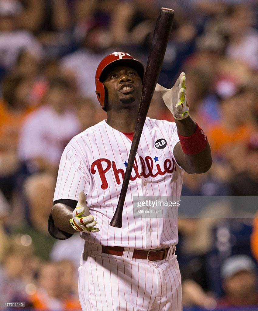 Ryan Howard #6 of the Philadelphia Phillies reacts after a strikeout in the bottom of the eighth inning against the Baltimore Orioles on June 17, 2015 at the Citizens Bank Park in Philadelphia, Pennsylvania. The Orioles defeated the Phillies 6-4.