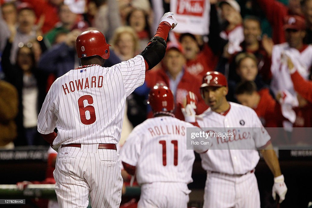 Ryan Howard #6 of the Philadelphia Phillies reacts after hitting a three-run home run in the sixth inning of Game One of the National League Division Series against the St. Louis Cardinals at Citizens Bank Park on October 1, 2011 in Philadelphia, Pennsylvania.