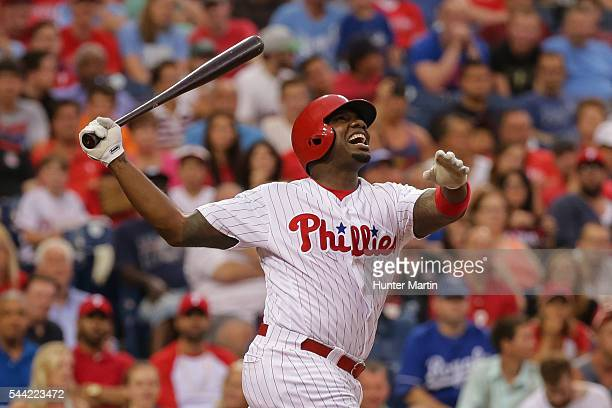 Ryan Howard of the Philadelphia Phillies reacts after striking out in the third inning during a game against the Kansas City Royals at Citizens Bank...