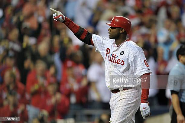 Ryan Howard of the Philadelphia Phillies reacts to hitting a threerun home run in the sixth inning of Game One of the National League Division Series...