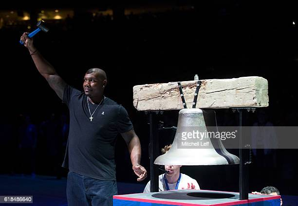 Ryan Howard of the Philadelphia Phillies rings the Liberty Bell prior to the game between the Oklahoma City Thunder and Philadelphia 76ers at Wells...