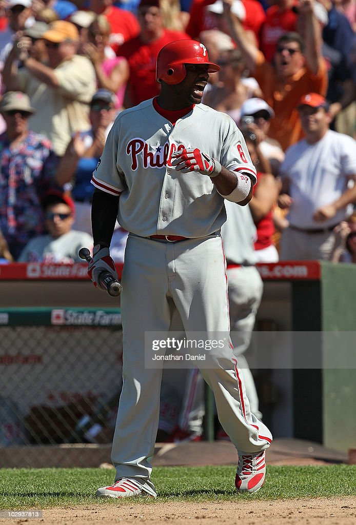 Ryan Howard #6 of the Philadelphia Phillies talks to the home plate umpire after striking out in the 9th inning against the Chicago Cubs at Wrigley Field on July 16, 2010 in Chicago, Illinois. The Cubs defeated the Phillies 4-3.