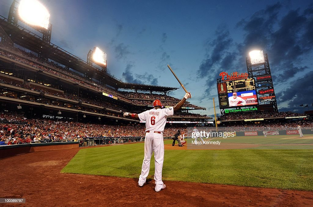 Ryan Howard #6 of the Philadelphia Phillies waits on deck against the Boston Red Sox in the fourth inning on May 22, 2010 at Citizens Bank Park in Philadelphia, Pennsylvania. The Red Sox won 5-0.
