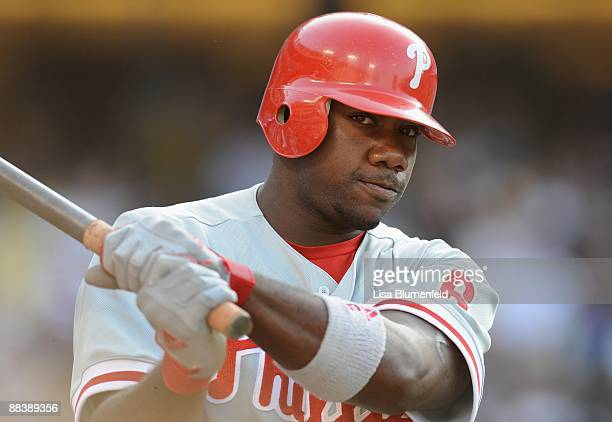 Ryan Howard of the Philadelphia Phillies waits on deck during the game against the Los Angeles Dodgers at Dodger Stadium on June 7 2009 in Los...