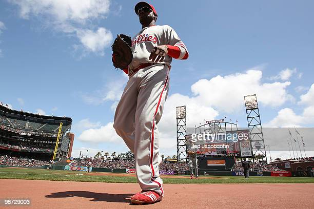 Ryan Howard of the Philadelphia Phillies walks off the field against the San Francisco Giants during an MLB game at AT&T Park on April 28, 2010 in...