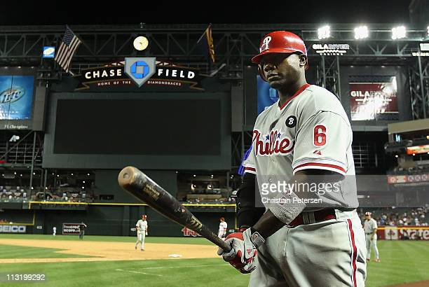 Ryan Howard of the Philadelphia Phillies walks out of the dugout during the Major League Baseball game against the Arizona Diamondbacks at Chase...