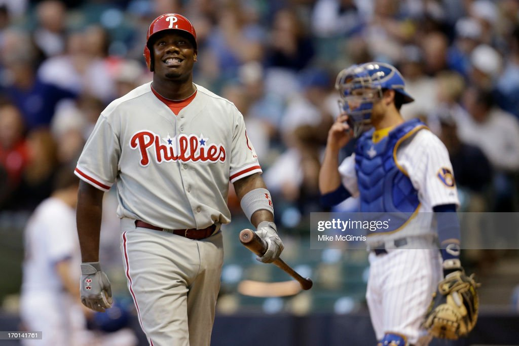 Ryan Howard #6 of the Philadelphia Phillies walks to the dugout after striking out in the top of the fourth inning against the Milwaukee Brewers at Miller Park on June 07, 2013 in Milwaukee, Wisconsin.