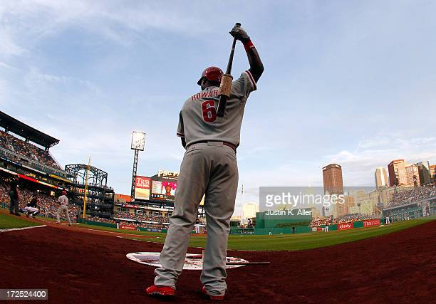 Ryan Howard of the Philadelphia Phillies warms up in the on deck circle against the Pittsburgh Pirates during the game on July 2 2013 at PNC Park in...