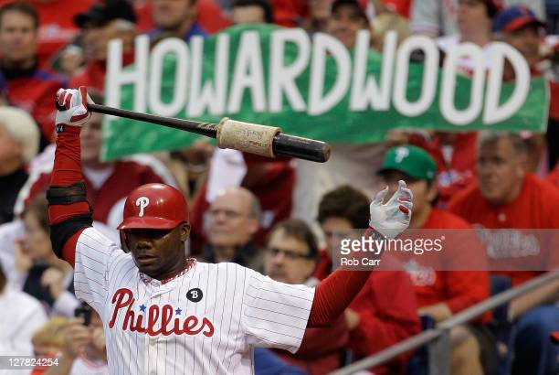 Ryan Howard of the Philadelphia Phillies warms up prior to an atbat during Game One of the National League Division Series against the St Louis...