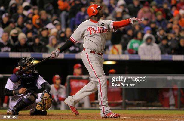 Ryan Howard of the Philadelphia Phillies watches his game winning RBI sac fly that scored Jimmy Rollins in the ninth inning against the Colorado...