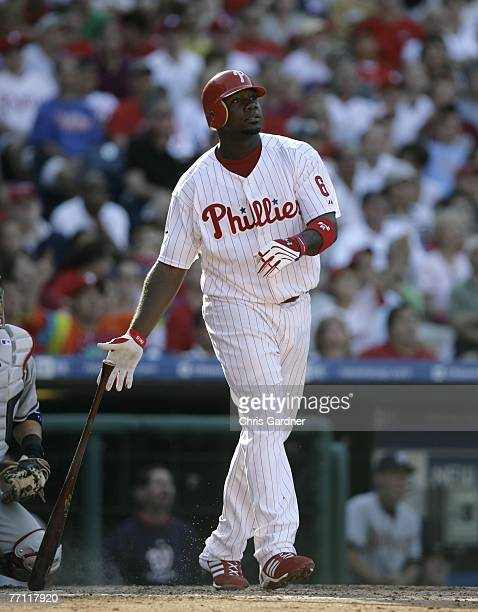 Ryan Howard of the Philadelphia Phillies watches his sixth inning home run against the Washington Nationals at Citizens Bank Park September 30 2007...