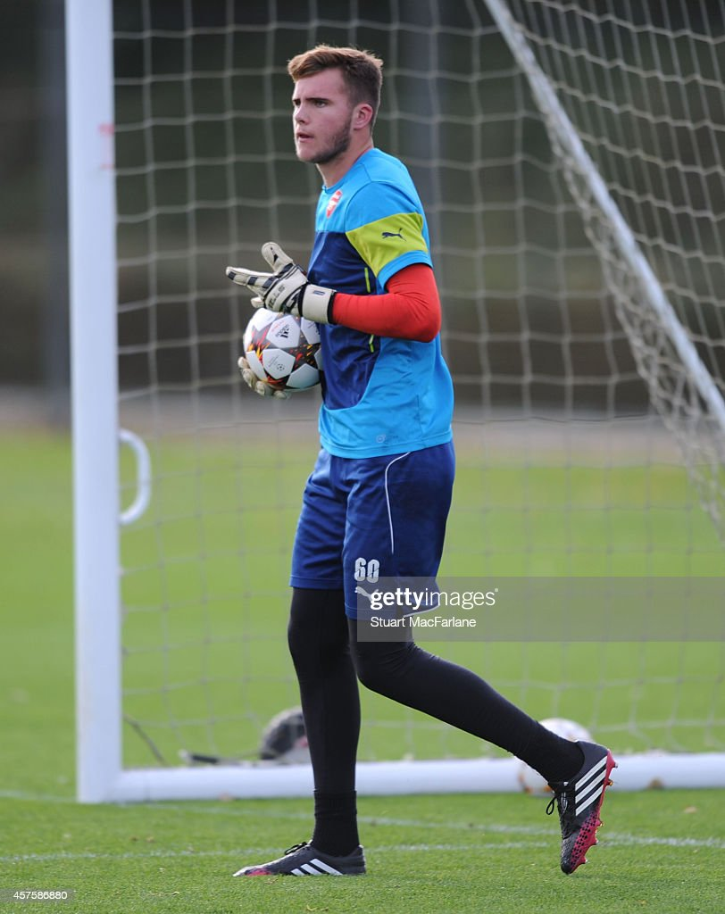 Ryan Huddard of Arsenal during a training session at London Colney on October 21, 2014 in St Albans, England.